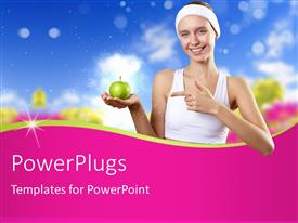PowerPlugs: PowerPoint template with health concept, a young woman holding green apple in hand and nature in background