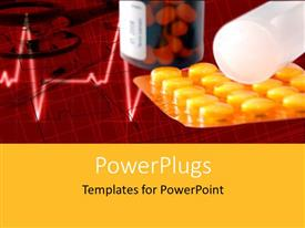PowerPoint template displaying health protection pills and syringe with stereoscope and ECG waves in background depicting health care
