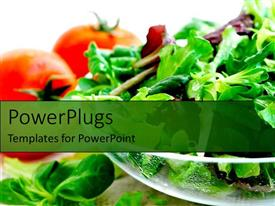 PowerPlugs: PowerPoint template with health salads vegetables tomatoes and lettuce and greens