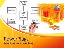 PowerPoint template displaying health theme with yellow cans filled with colorful tablets, pills and capsules, money stacks, money bills and coins, female hand with black marker writing health related words on diagram