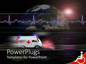 PowerPlugs: PowerPoint template with healthcare medical theme with speeding ambulance and heartbeat line over half of globe, planet earth and white ambulance with red cross