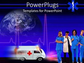 PowerPlugs: PowerPoint template with healthcare theme with doctor and three smiling nurses ambulance speeding and heartbeat line with globe in the background