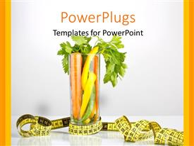PowerPlugs: PowerPoint template with healthy diet with carrot and vegetables in glass and measuring tape