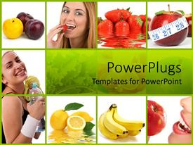 PowerPoint template displaying healthy diet with collage of depictions of healthy food and fitness exercising bottle of water, lemons, bananas, apples, strawberries, plums and measuring tape