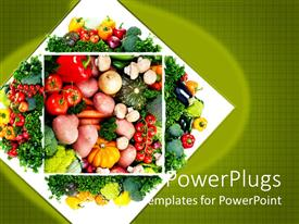PowerPlugs: PowerPoint template with healthy diet concept with close up on vegetable plate with tomatoes, red pepper, yellow pepper, onion, potatoes, eggplant, mushrooms, carrots and pumpkins