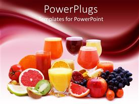 PowerPlugs: PowerPoint template with healthy diet concept with multitude of various freshly cut fruits, vegetable and fruits, glasses of fresh juice made of fruits and vegetables, on gradient burgundy and white background