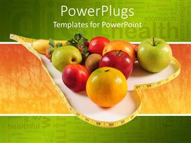 PowerPlugs: PowerPoint template with healthy diet concept with various fruits inside a heart shape made of measuring tape with words related to health on green and orange background