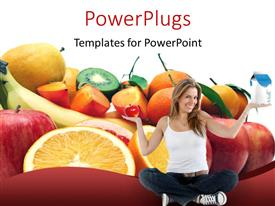 PowerPoint template displaying healthy diet with cute girl sitting in yoga position