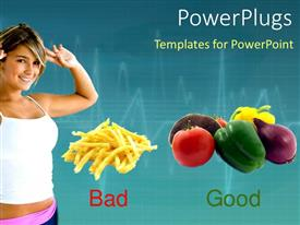 PowerPlugs: PowerPoint template with healthy diet depiction, exercising lady and good and bad diet
