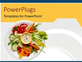 PowerPlugs: PowerPoint template with healthy diet, healthy food on white plate, freshly made salad of vegetables, vegetable slices