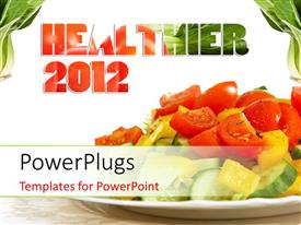 PowerPlugs: PowerPoint template with healthy diet with vegetarian salad dish over white surface