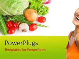 PowerPlugs: PowerPoint template with be healthy eat more greens fresh vegetables  cabbage tomatoes  onion garlic a healthy life  with a good vegetable garden