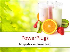 PowerPoint template displaying healthy eating concept with three glasses with yogurts surrounded by fresh fruits