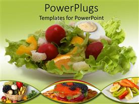 PowerPlugs: PowerPoint template with healthy eating with salad, fruit basket and meals, nutrition, green background
