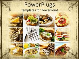 PowerPoint template displaying healthy food carbohydrates with fruit or spread