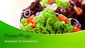 PowerPoint template displaying healthy and fresh fruits and vegetable salad