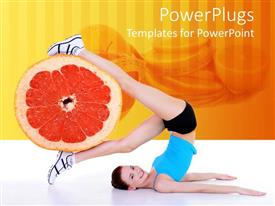 PowerPlugs: PowerPoint template with healthy lifestyle metaphor with woman exercising holding grapefruit in legs