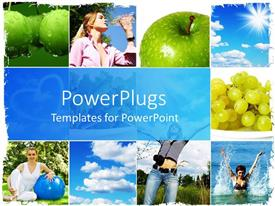 PowerPoint template displaying healthy living concept with fruits, water, swimming and exercise.