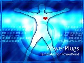 PowerPlugs: PowerPoint template with a healthy person with a heart and binary number sin the background