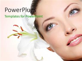 PowerPlugs: PowerPoint template with a beautiful girl with a flower and pinkish background