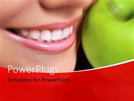 PowerPlugs: PowerPoint template with healthy living with close-up of woman and green apple