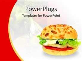 PowerPlugs: PowerPoint template with healthy vegetable burger on a white and red background
