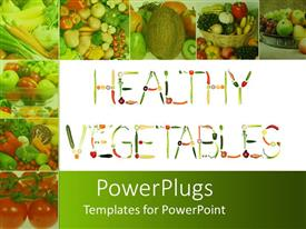 PowerPlugs: PowerPoint template with healthy vegetables formed of fresh fruits and vegetables with collage of eight depictions of fresh healthy fruits and vegetables on green background