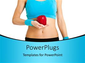 PowerPlugs: PowerPoint template with healthy young woman in blue with red apple in hand over white background