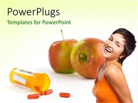 PowerPlugs: PowerPoint template with healthy young woman smiling with capsules from pill bottle and red apple