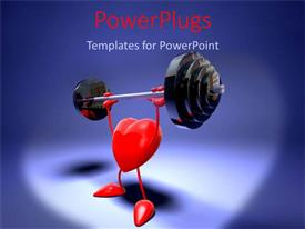 PowerPlugs: PowerPoint template with heart with arms and legs lifting heavy weight on blue background