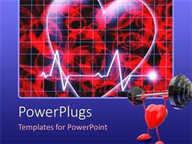 PowerPlugs: PowerPoint template with heart beat on monitor on dark background with heart weight lifting