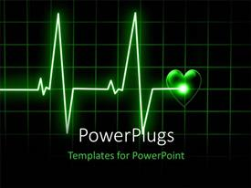 PowerPoint template displaying heart beat on monitor on a dark background