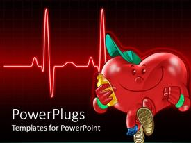 PowerPlugs: PowerPoint template with a heart with a bottle and a heartbeat line