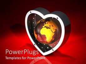 PowerPlugs: PowerPoint template with a heart with a golden globe in it