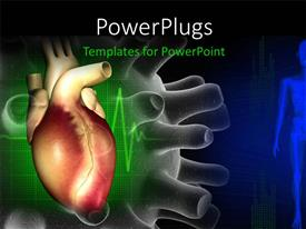 PowerPoint template displaying a heart with a greenish and bluish background