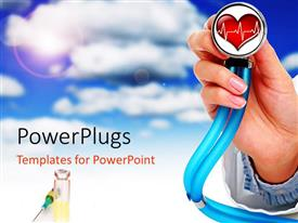 PowerPlugs: PowerPoint template with heart health cardiology with stethoscope in doctor's hand, syringe, blue sky with cloud background
