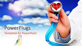 PowerPoint template displaying heart health cardiology with stethoscope in doctor's hand, syringe, blue sky with cloud background