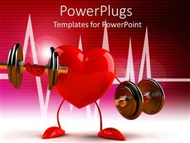 PowerPoint template displaying a heart holding various weights along with a heartbeat line