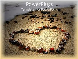 PowerPlugs: PowerPoint template with heart made of various several colorful shells on sandy beach and sea wave
