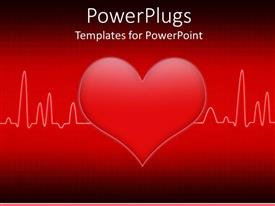 PowerPlugs: PowerPoint template with a heart in the middle of a heartbeat line with red background