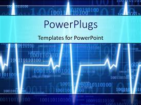 PowerPoint template displaying heart monitor on a dark blue digital background