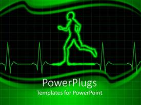 PowerPoint template displaying heart monitor EKG with human person running, green and black background, fitness, exercise, heart health, cardiology