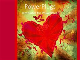 PowerPoint template displaying the heart with a number of colors in the background