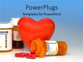 PowerPoint template displaying a heart with a number of medicines with bluish background
