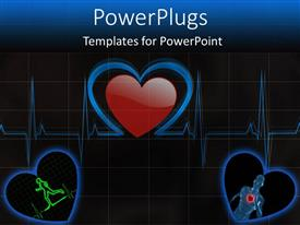 PowerPoint template displaying heart pulse monitor running heart beat black background
