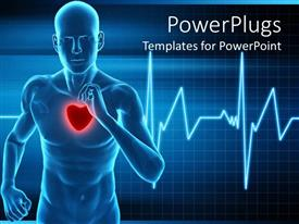 PowerPlugs: PowerPoint template with heart rate monitor live a healthy life  running  mans beat heart waves