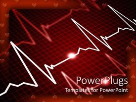 PowerPoint template displaying heart rate monitor showing three pulse indications with heart shape as frame