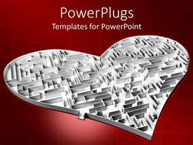 PowerPlugs: PowerPoint template with the heart shaped maze with reddish background