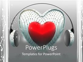 PowerPlugs: PowerPoint template with a heart shaped pillow with headphones
