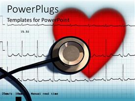 PowerPlugs: PowerPoint template with a heart and a stethoscope with a bluish background